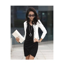 Black And White Rivet Long Sleeve Women Jacket