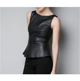 Black Backless And Sleeveless Faux Leather Top