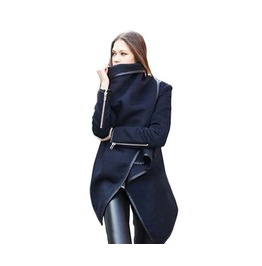 Black Woolen Trench Winter Coat