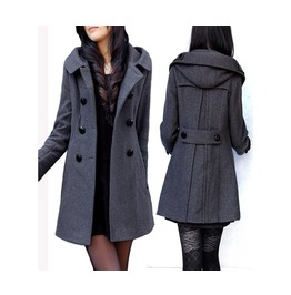 Double Breasted Long Hooded Wool Women Coat