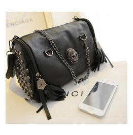 Faux Leather Skull Rivet Bag With Chains