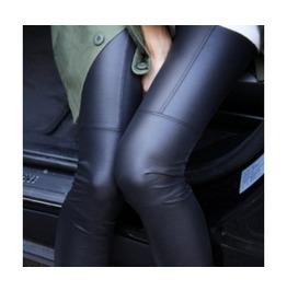 Black/Tan Skinny Leather Stretch Leggings