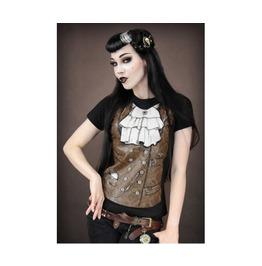 Fluorine Vest Digitally Printed Short Sleeve Black Women T Shirt