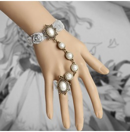 Handmade Gray Lace Peal Gothic Bracelet Ring Br 63
