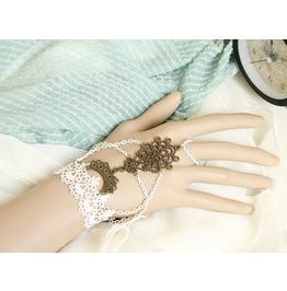 Handmade White Lace Tassels Gothic Bracelet Ring Br 65