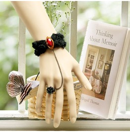 Handmade Black Lace Flower Red Jewelry Gothic Bracelet Ring Br 95