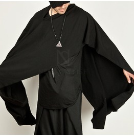 Unbalanced Cut Black Poncho Cape