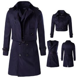 Men's Turn Down Collar Double Breasted Wind Coat