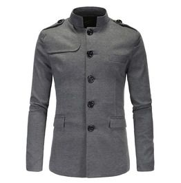 Men's Stand Collar Buttons Slim Fitted Chinese Suits