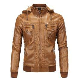 Men's Vintage Hoodied Faux Leather Jacket