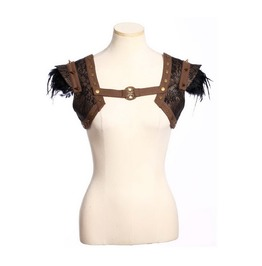 Steampunk Women's Feather Rivets Faux Leather Cape Coffee