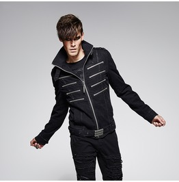 Men's Multi Zipper Faux Leather Jacket With Silver Chain Carving Waist Belt
