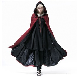 Gothic Women's Red Dolman Hooded Cape Blazer