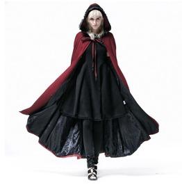 Gothic Women's Red Dolman Hooded Cape Blazer