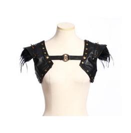Steampunk Women's Feather Rivets Faux Leather Cape Black