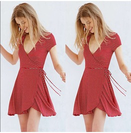 Casual Casual Stripe Short Sleeve Evening Cocktail Party Beach Mini Dress