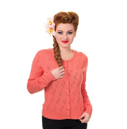 Banned Apparel Goddess Cardigan Coral And Black