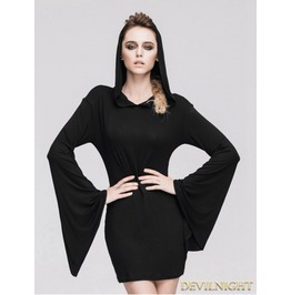 Black Gothic Witch Sexy Hooded Dress For Women