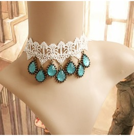 Handmade White Lace Blue Jewelry Pendent Gothic Necklace Nk 35