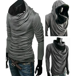 New Hoodie Grey Cowl Tunnel Neck Cloak Long Sleeve Shirt Men S M L Xl Xxl