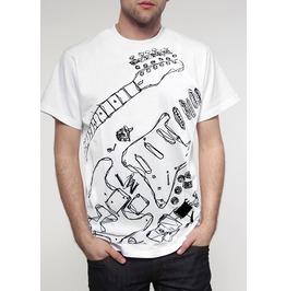 New Men Graphic Guitar Cotton T Shirt Graphic Size L
