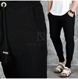 Pintuck Accent Banded Hem Black Sweatpants 191