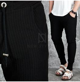 Pintuck Accent Banded Hem Black Sweatpants 191