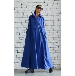 Blue Maxi Dress/Plus Size Kaftan/Long Sleeve Casual Dress/Oversize Dress