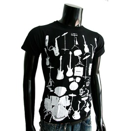 New Men Graphic Music Instrument Cotton T Shirt Graphic Size S M