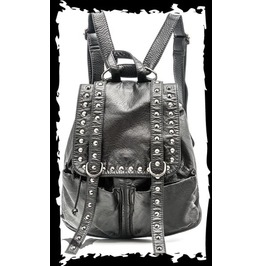 Black Goth Industrial Studded Black Vegan Leather Punk Backpack $9 To Ship