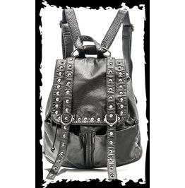 Black Goth Industrial Studded Black Vegan Leather Punk Backpack