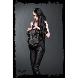 Punk Black Goth Industrial Stud Black Vegan Leather Backpack