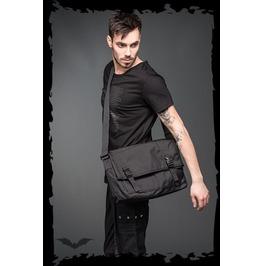 Big Black Goth Messenger Punk Shoulder Bag Add Your Patches