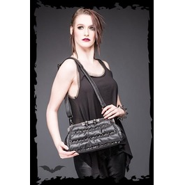 Black Goth Skull Spikes Fetish Purse Pleather Punk Shoulder Bag $9 To Ship