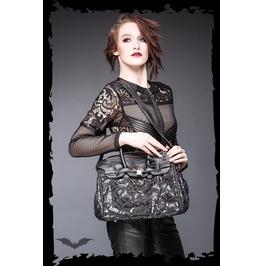 Black Goth Lace Baroque Fetish Purse Vegan Leather Punk Shoulder Hand Bag