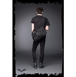 Big Black Goth Messenger Punk Shoulder Buckle Bag With Pockets $9 To Ship