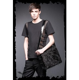 Black Goth Fuzzy Fur Fetish Purse Pleather Raver Shoulder Bag