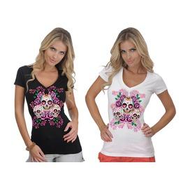 Gothic 3 Sugar Skulls Pink Roses Day Of Death V Neck T Shirt