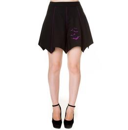 Banned Apparel Black Purple Bats Short Skirt