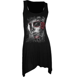 Women Goth Bottom Camisole Skull Roses Black Dress