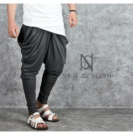 Shirring Big Loose Side Pocket Baggy Sweatpants