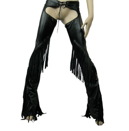 Italiano Couture Sexy Black Pleather Chaps With Fringes Xs Xl