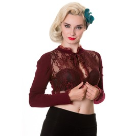 Banned Apparel Lace Bolero Burgundy And Black