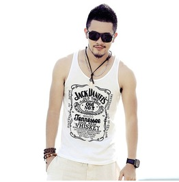 Men's Black/White Casual Fashion Sleeveless Tank Top