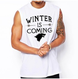 Men's Black/White Winter Is Coming Printed Tank Top