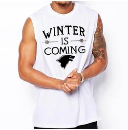Men's Black/White Winter Is Coming Printed Tank Top