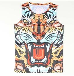 Men's Stilized Tiger Head Printed Tank Top