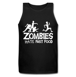 Men's Zombies Hate Fast Food Funny Printed Tank Top