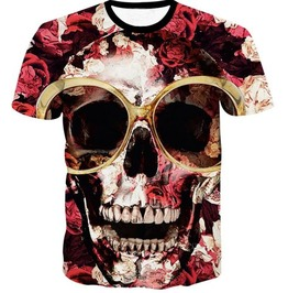 Steampunk Skull Head T Shirt D1