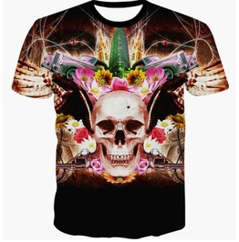 Steampunk Skull Head T Shirt D9